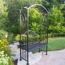 35+ Top Guide Of Metal Garden Arbor Trellis With Gate Scroll Design Arch Climbing Plants 113
