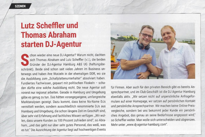 Disco Magazin berichtet über die DJ Agentur Hamburg A&S UG