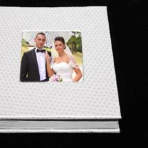 04.DAlbum Digital Nunta 30x30 cm. Piele ecologica alba + gri floral + fotografie