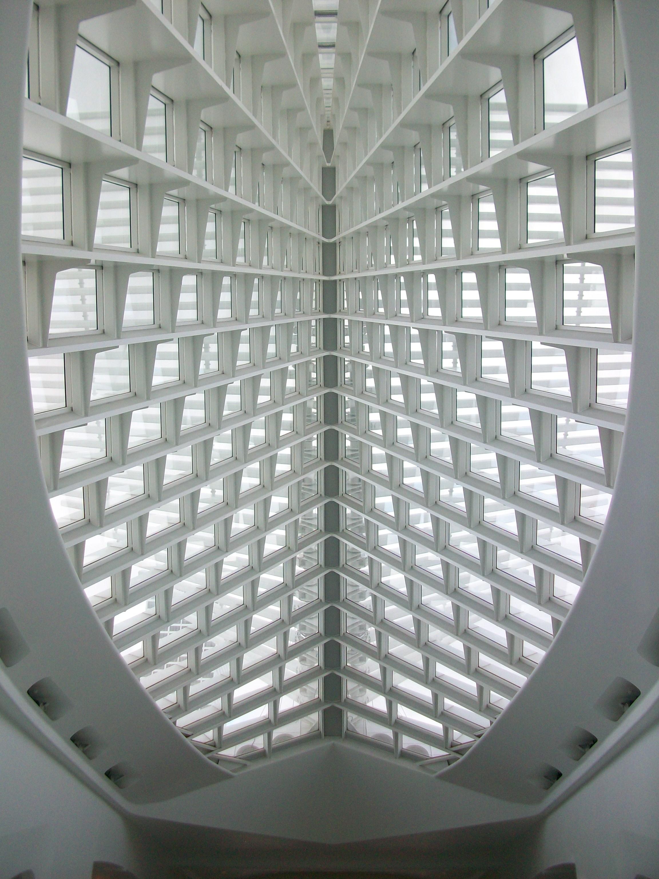 Calatrava's Milwaukee Art Museum View of the Closed Sunscreen from Inside