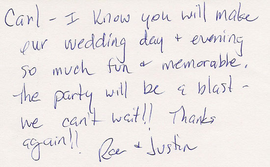Thank you card from the wedding couple