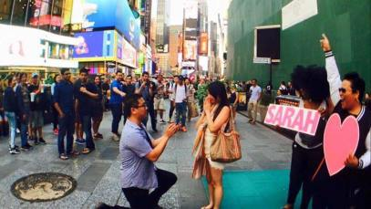 Surprise proposal – Times Square NYC Lion King