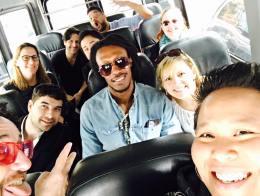 On the bus, Kwame Binea Shakedown, LIT, Galinsky, and the crew