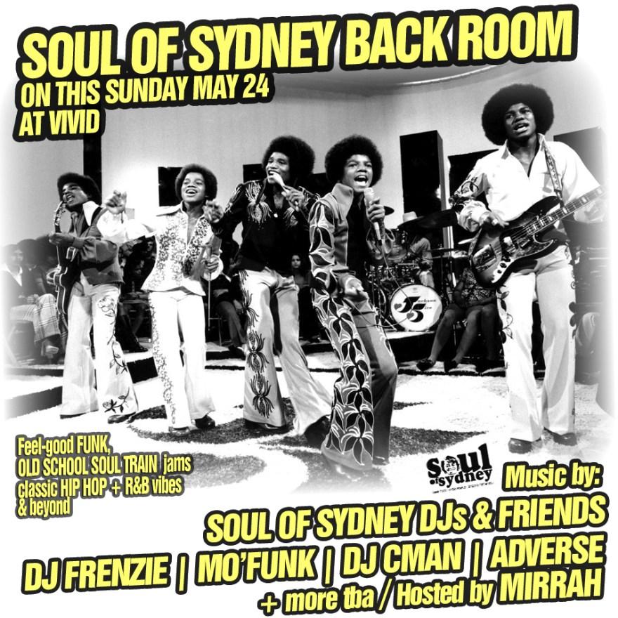 SOUL OF SYDNEY BACK ROOM LINE UP ANNOUNCED [FRENZIE, MO FUNK, DJ CMAN, ADVERSE, MIRRAH]