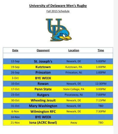Schedule 2015 Fall