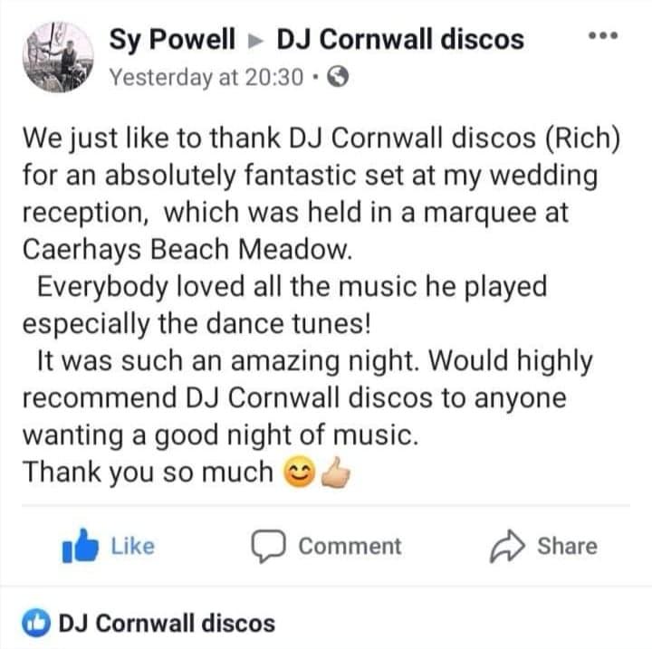 Testimonial DJ Cornwall Discos - 1