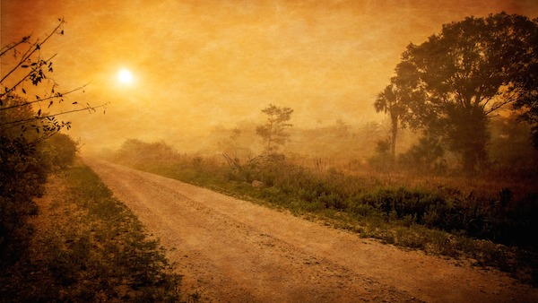 sunset or sunrise on the road to planning ahead