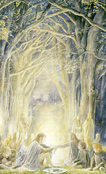 lord of the rings alan lee hobbits and elves