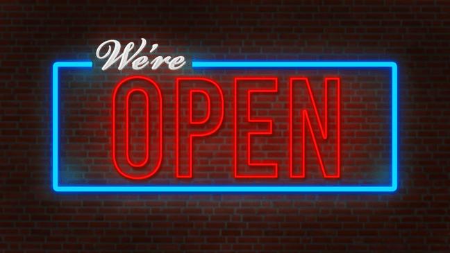 We're Open Neon Sign