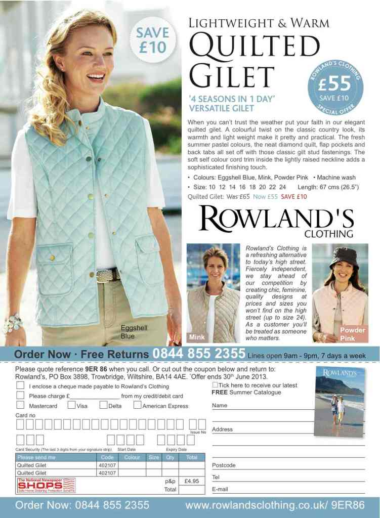 Rowland's Clothing Off the page advertising, off the page advertising, Response Advertising