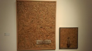 "Hwang Buh-Ching 1991. ""Modern Poetry"" compressed newspaper, found wood, metal. 152 x 120 cm"