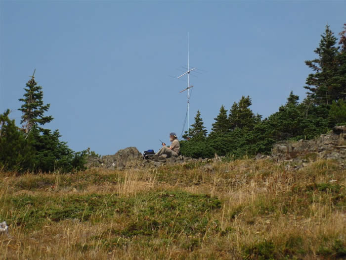 Operating position on the south end of the activation zone with the 2m and 1296 antennas in place.