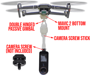 Mounting Qoocam 8K at different distances below the DJi Mavic Pro