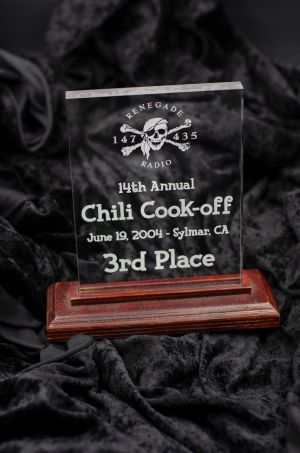 Jed's award from Renegade Radio 147.435 (short wave club) Chili Cook-off