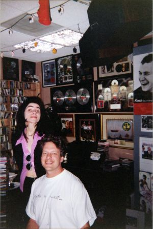 PJ Harvey in Gene Sandbooom's office with Jed The Fish, cir95