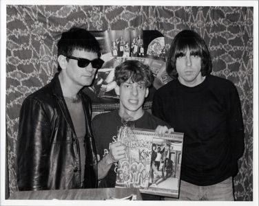 The Ramones with Jed The Fish in the KROQ control room Pasadena cir. 1983