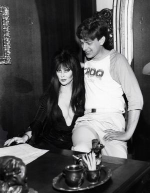 Elvira, Mistress of the Dark with Jed The Fish in the KROQ Pasadena lobby