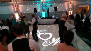 wedding monogram at the Binghamton Club