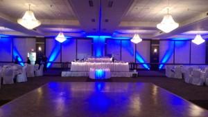 uplighting at Binghamton double tree wedding reception