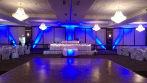 uplighting at Binghamton double tree wedding reception