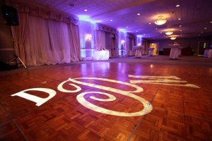 Uplighting at Traditions with Wedding Couple's Monogram on Dancefloor