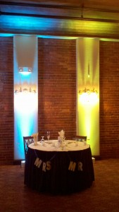 Uplighting colors are controlled wirelessly.