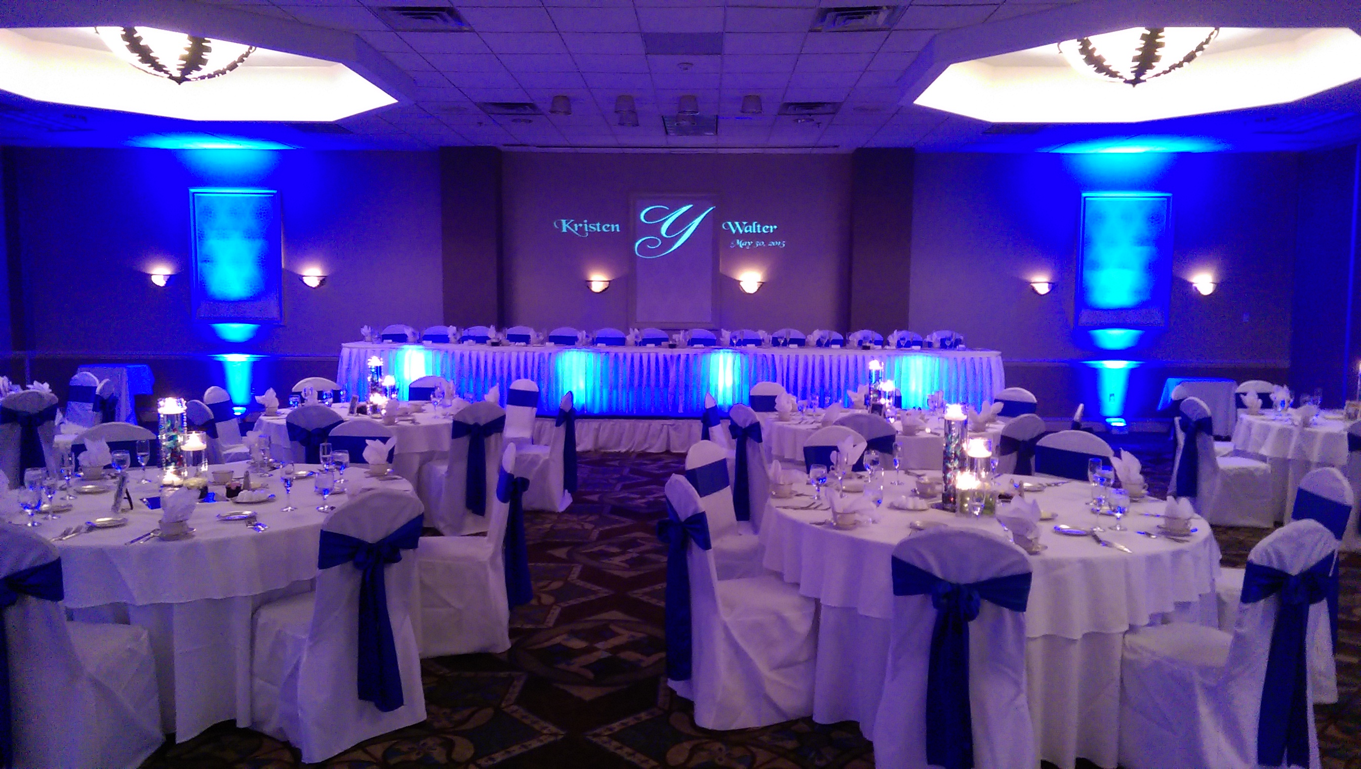 Holiday Inn Binghamton Wedding Reception With Uplights And Monogram