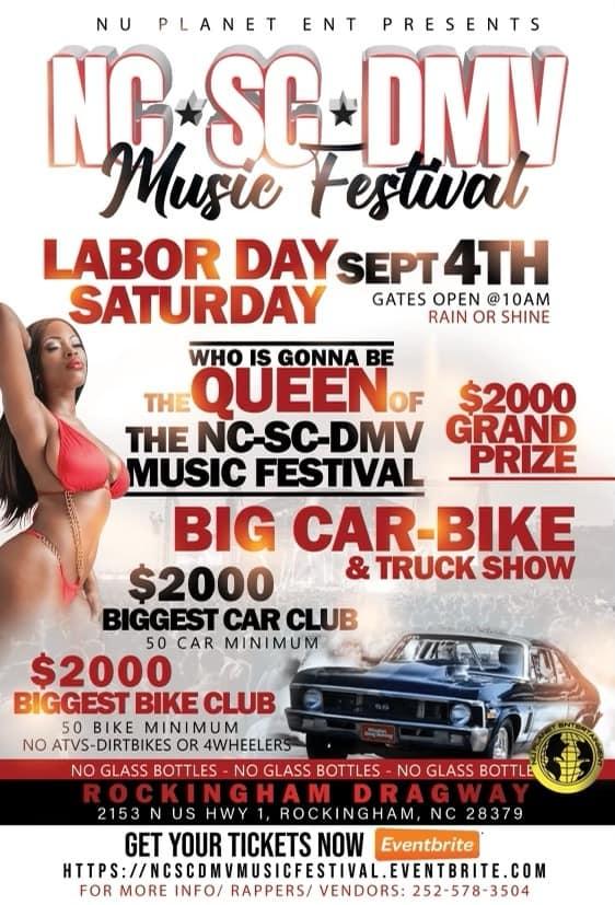 NC * SC * DMV Music Festival Featuring Lil Durk | Asian Doll | Plies Back Yard GoGo Band | Fredo Bang | Mooski #LaborDayWeekend Saturday Sept 4th at Rockingham Dragway #Rockingham NC