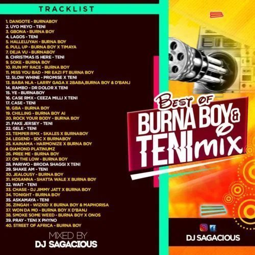 DJ sagacious best of burna boy and teni mix