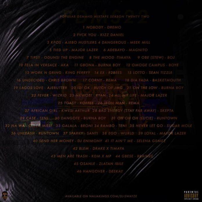 dj swayze coming to lagos mixtape tracklist