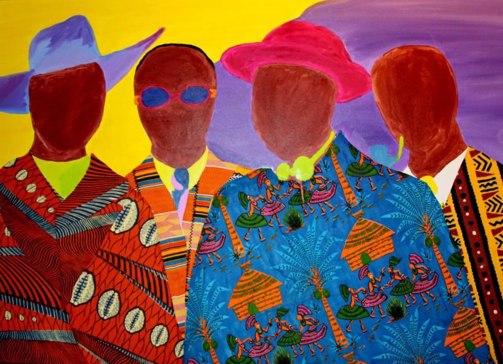 Les Gens de coleur de Kinshasa Oil on Canvas, mixed Media 100cm x 140cm Jonathan Mwe di Malila