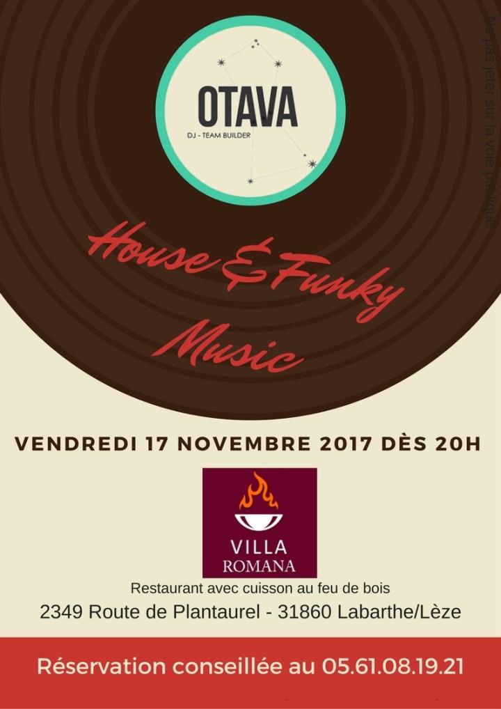 Deep House & Funky music au restaurant Villa Romana à Labarthe sur Lèze le 17 Novembre 2017 affiche