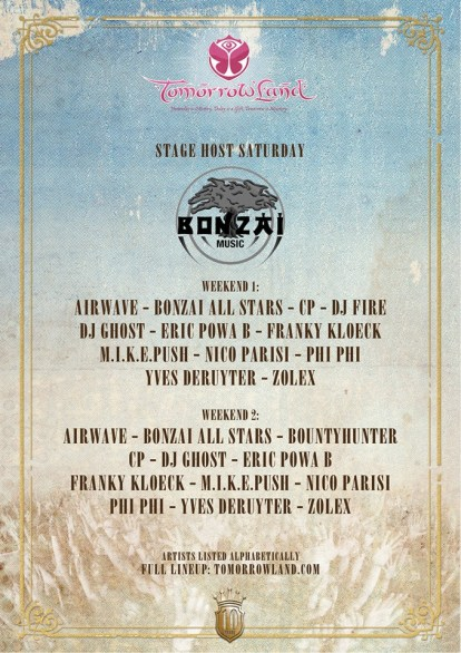 line up bonzai stage @ TML 2014