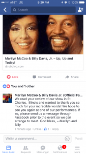 Singing greats Marilyn McCoo & Billy Davis, Jr. showed their appreciation and their class with this post from their Facebook page last week.