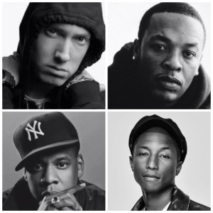 The last four artists - before Sia - to top the Billboard Hot 100 at 40 years old or above were these four (clockwise from top left: Eminem, Dr. Dre, Pharrell and Jay Z.