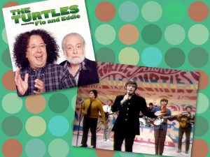 The Turtles (featuring Flo and Eddie) in their current configuration (left) and during the 1960s.