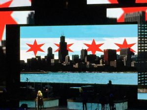 This Chicago flag graphic served as our official welcome from Stevie Nicks on Saturday, December 3, 2016.