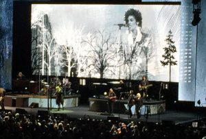 """This image of Prince was one of many projected in the graphics during Nicks' performance of """"Edge of Seventeen"""" in Chicago Saturday night (Dec. 3)"""