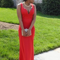 Red Gown + Gold Details