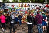 Paul and Judy Greening at the Lennon Wall