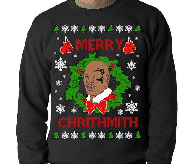 Hip Hop Ugly Christmas Sweaters Mike Tyson Ugly Sweater Merry Chrithmith
