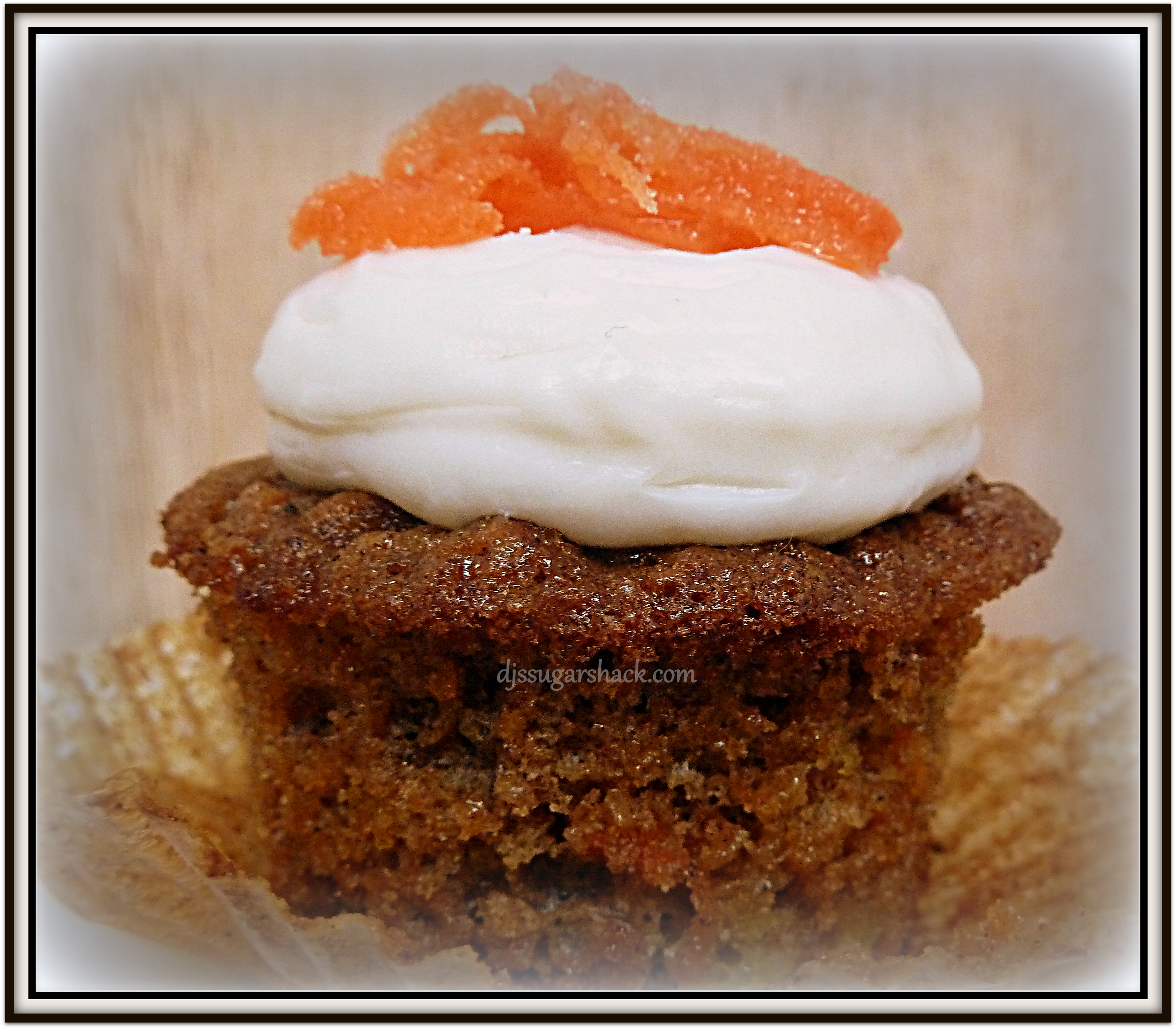 Carrot Cake Cupcakes With Cream Cheese Frosting & Candied