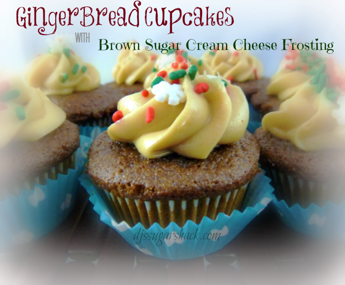 Gingerbread Cupcakes with Brown Sugar Cream Cheese Frosting