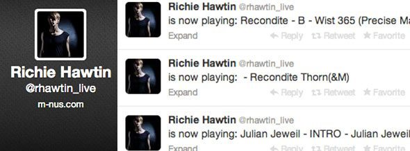 Richie's live Twitter account, connected to Radr.DJ