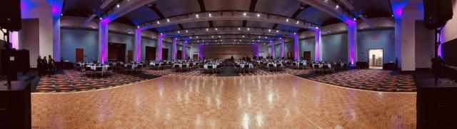 Uplighting in a large hall