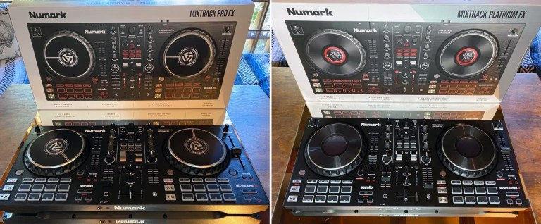 A side-by-side look at the Mixtrack Pro FX (left) and the Mixtrack Platinum FX (right). Photo: Freddie Fiers