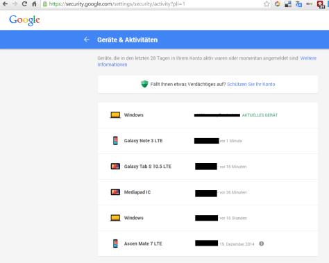 Google Aktivitäten