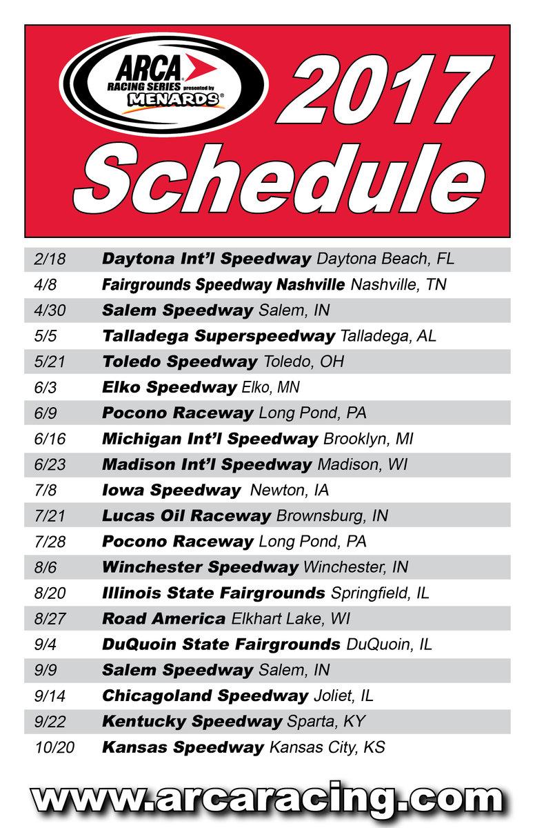 2017 ARCA Racing Series schedule released; Elko, Road America return - ARCA Racing