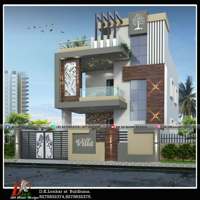 simple elevation designs for 2 floors building