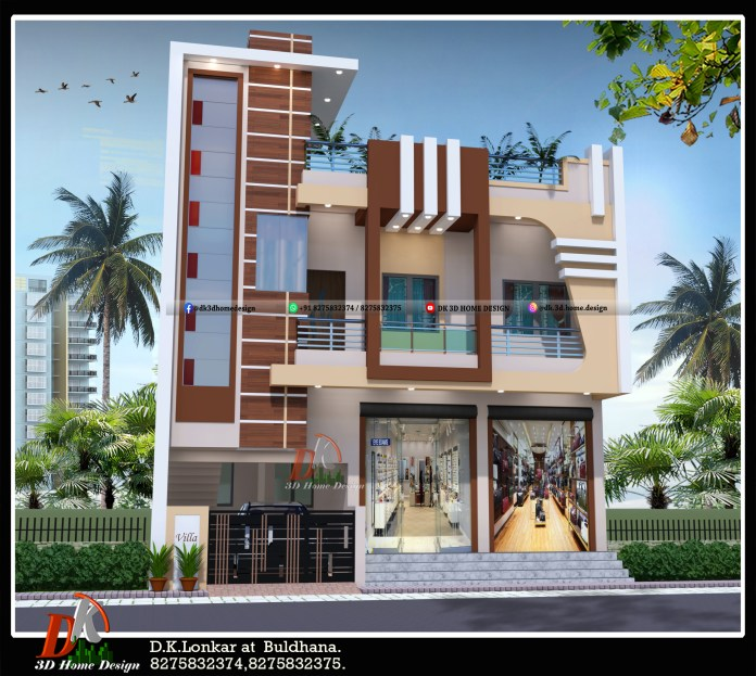 2 story house front elevation design with shop